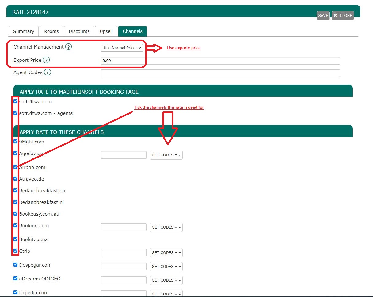 Export price channel manager